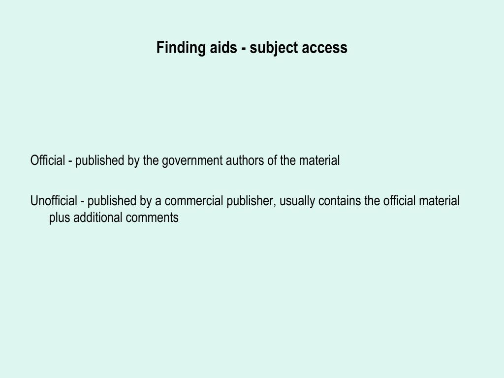 Finding aids - subject access
