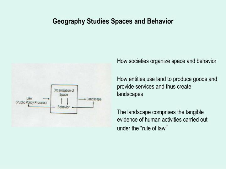 Geography studies spaces and behavior