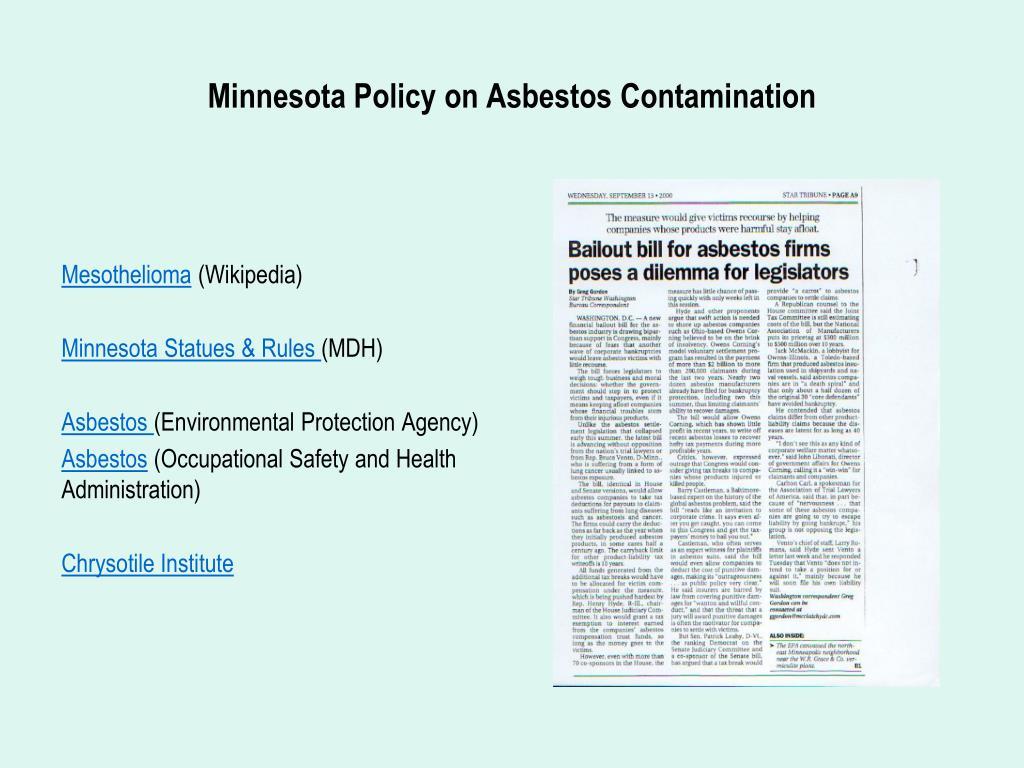 Minnesota Policy on Asbestos Contamination
