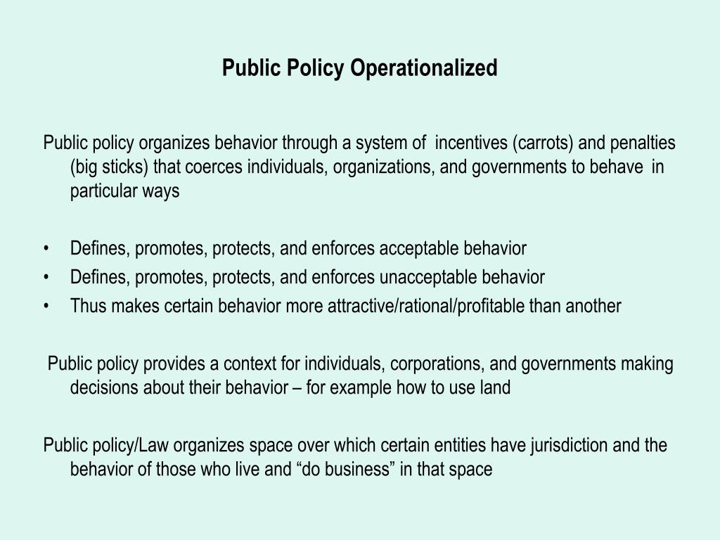Public Policy Operationalized