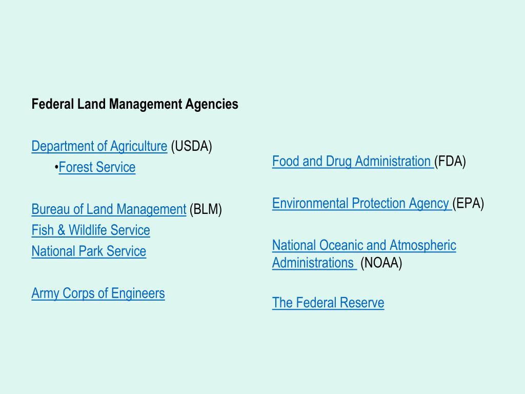 Federal Land Management Agencies