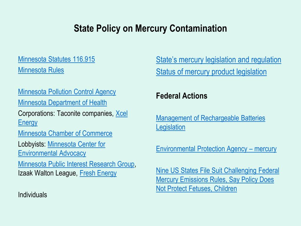 State Policy on Mercury Contamination