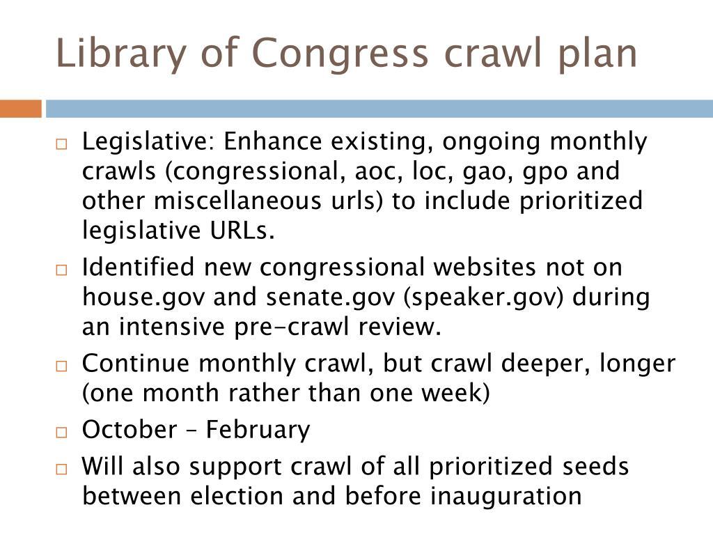 Library of Congress crawl plan