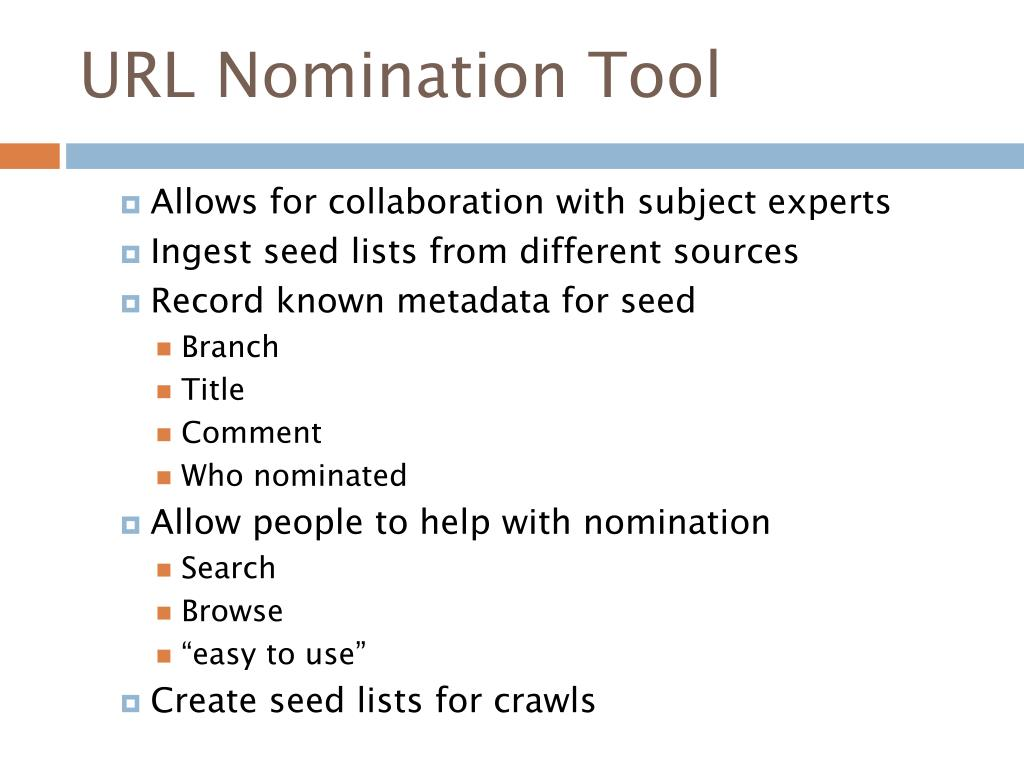 URL Nomination Tool