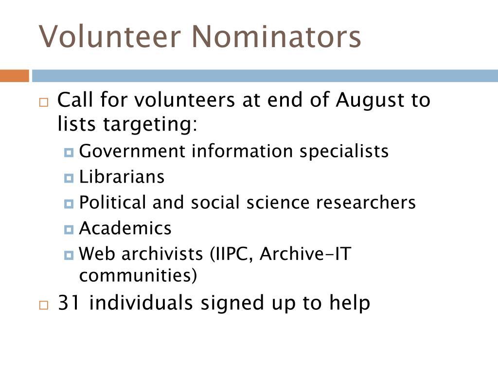 Volunteer Nominators