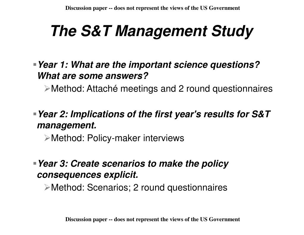 The S&T Management Study