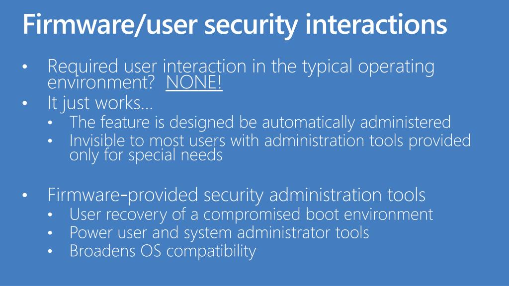 Firmware/user security interactions