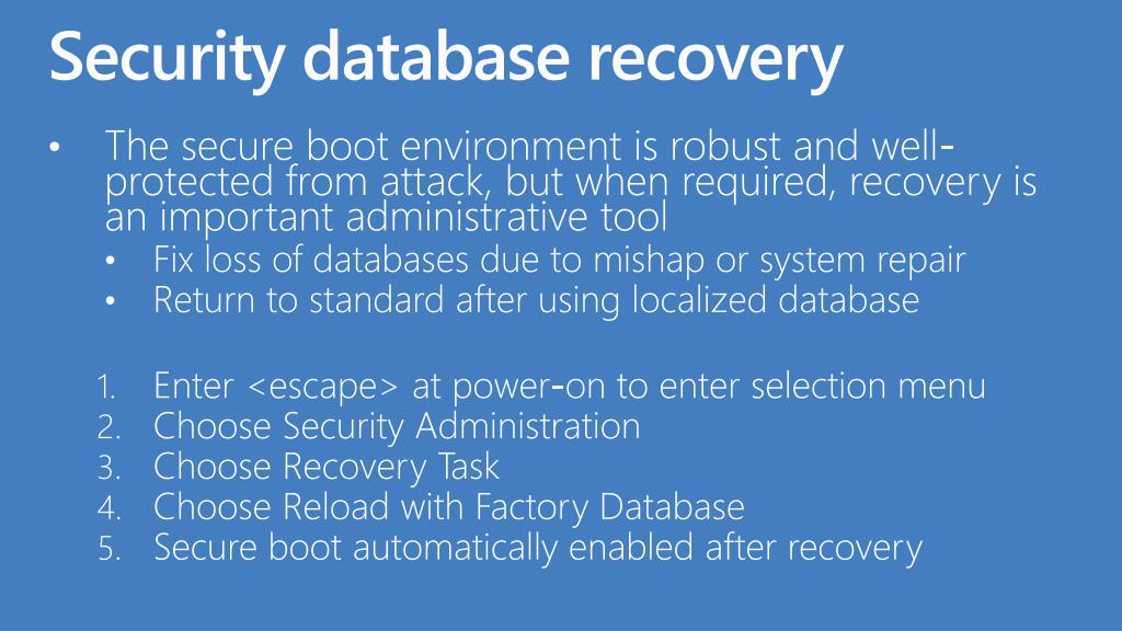 Security database recovery