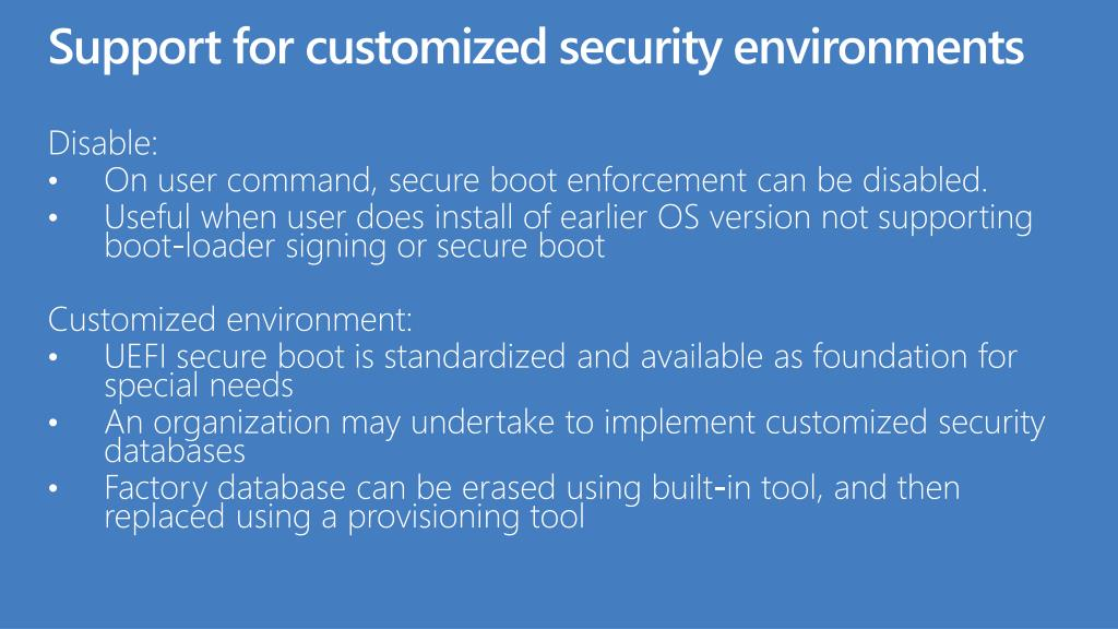 Support for customized security environments