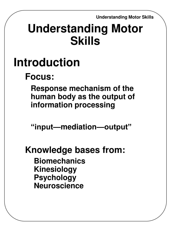 understanding motor skills l.