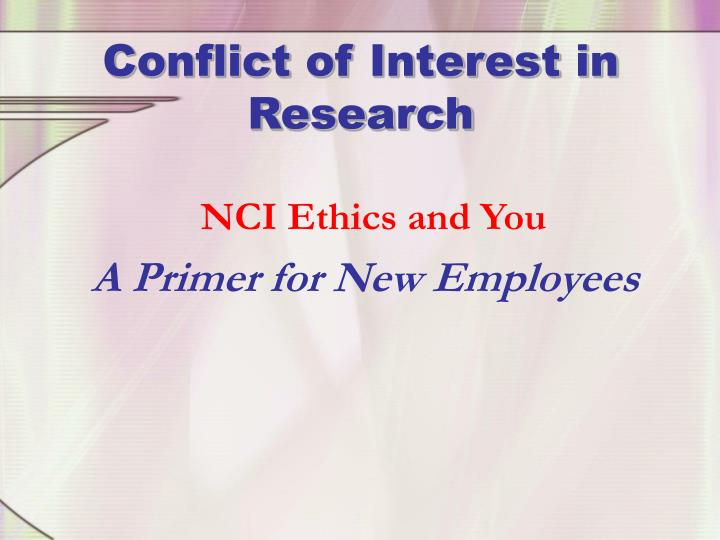 conflict of interest in research n.