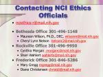 contacting nci ethics officials