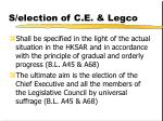 s election of c e legco