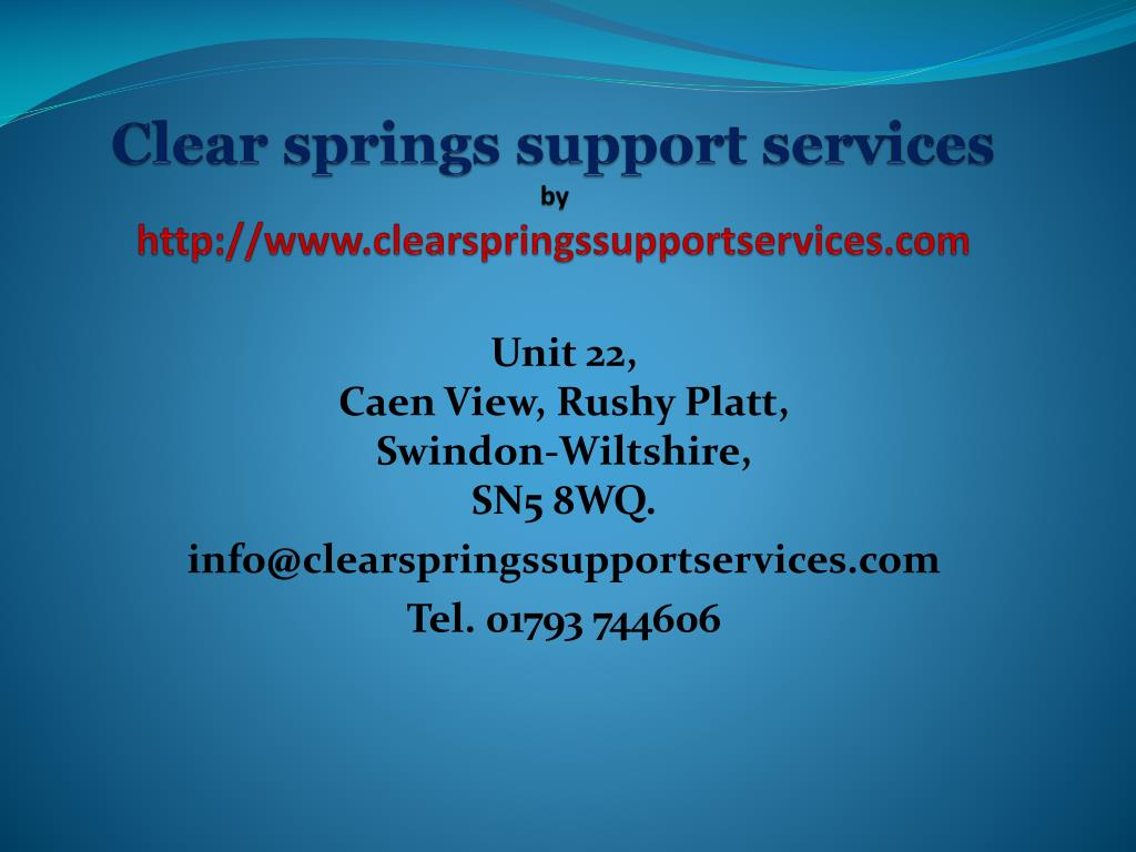 clear springs support services by http www clearspringssupportservices com l.