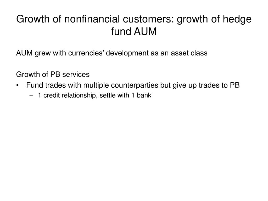 Growth of nonfinancial customers: growth of hedge fund AUM