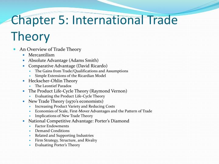 questions international trade theory International trade theory is a sub-field of economics which analyzes the patterns of international trade, its origins, and its welfare implications.