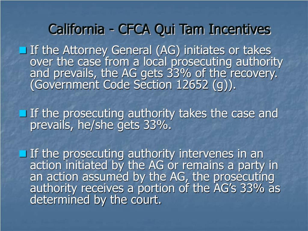 California - CFCA Qui Tam Incentives