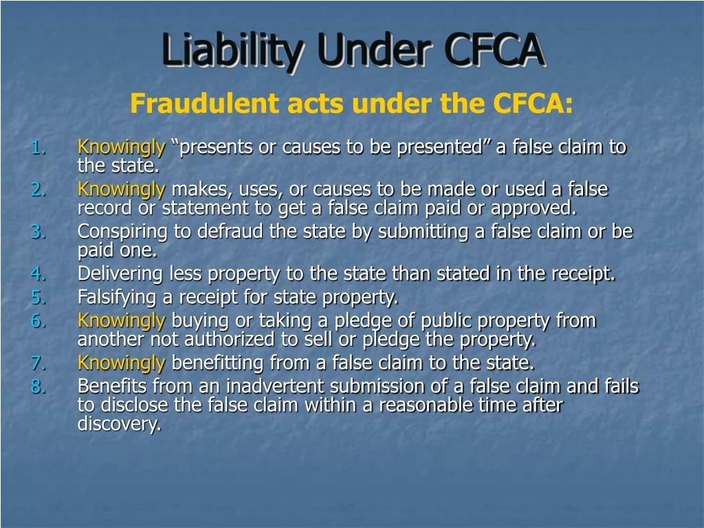 Liability Under CFCA