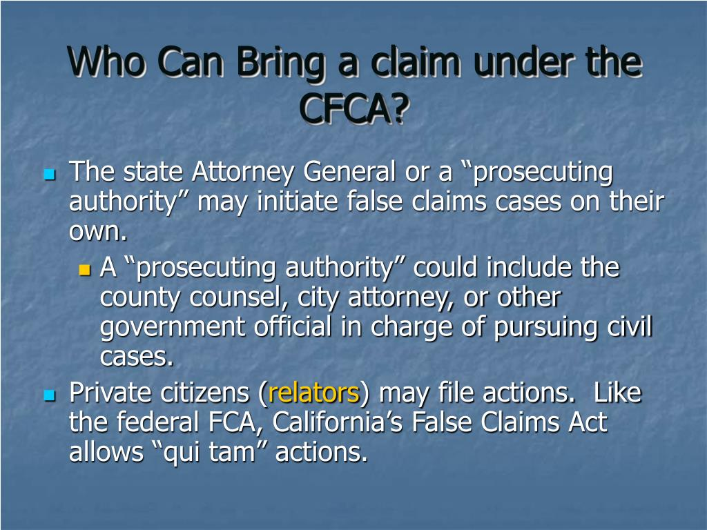 Who Can Bring a claim under the CFCA?