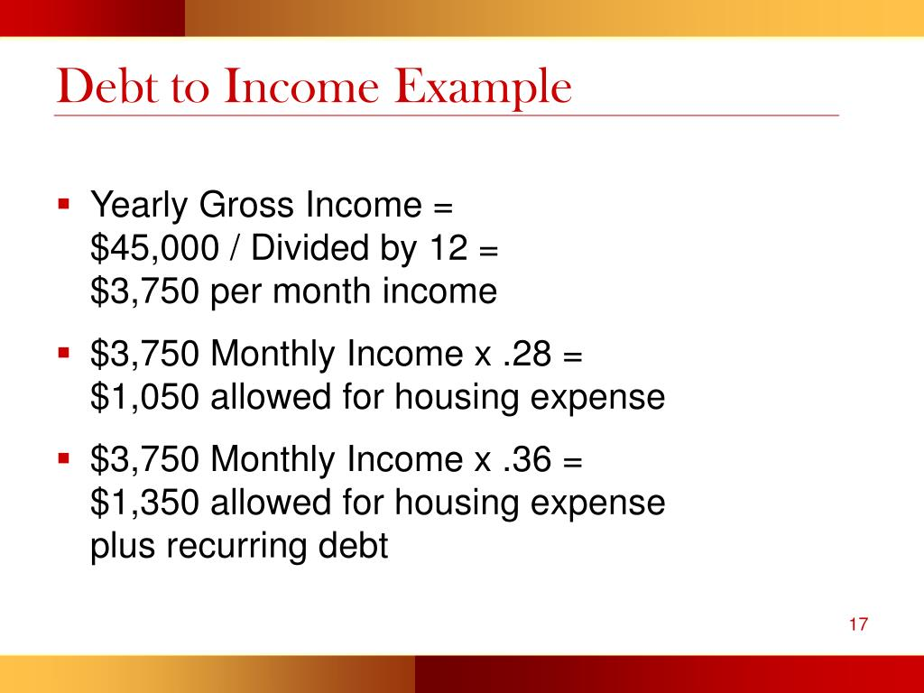 Debt to Income Example