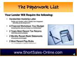 the paperwork list