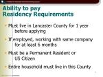 ability to pay residency requirements