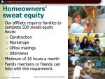 homeowners sweat equity
