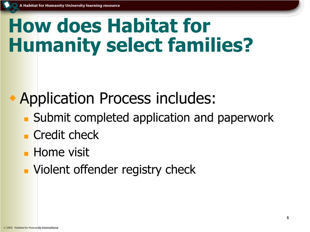 How does Habitat for Humanity select families?