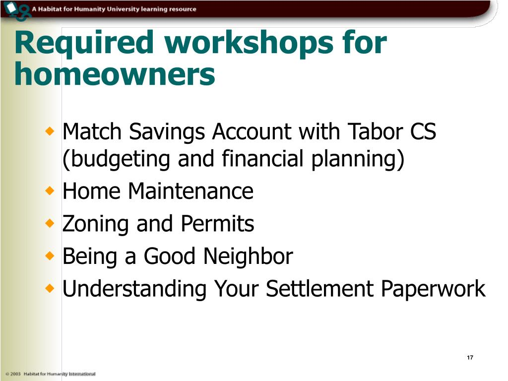 Required workshops for homeowners