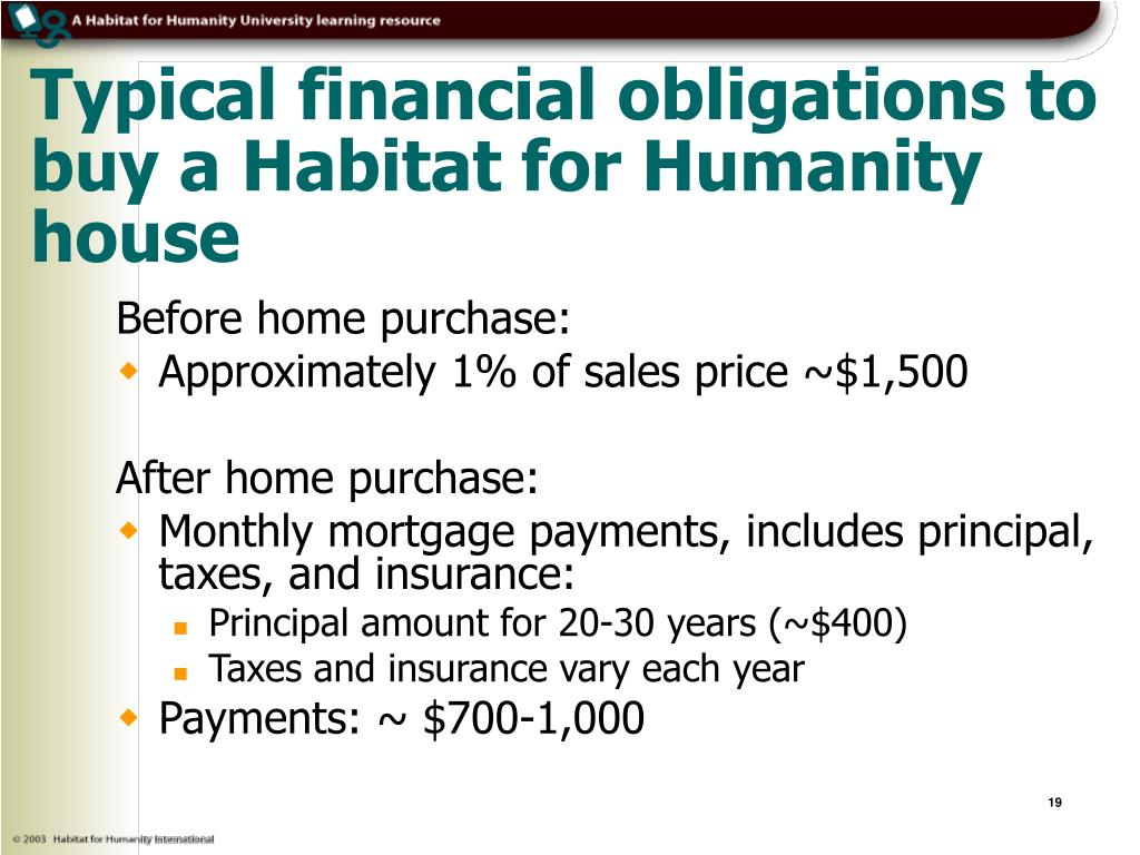 Typical financial obligations to buy a Habitat for Humanity house
