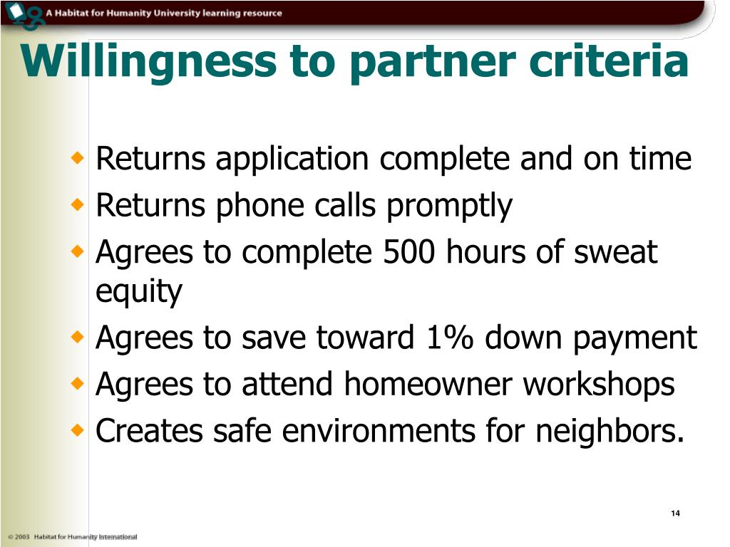 Willingness to partner criteria