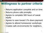 willingness to partner criteria