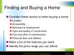 finding and buying a home