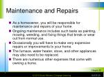 maintenance and repairs