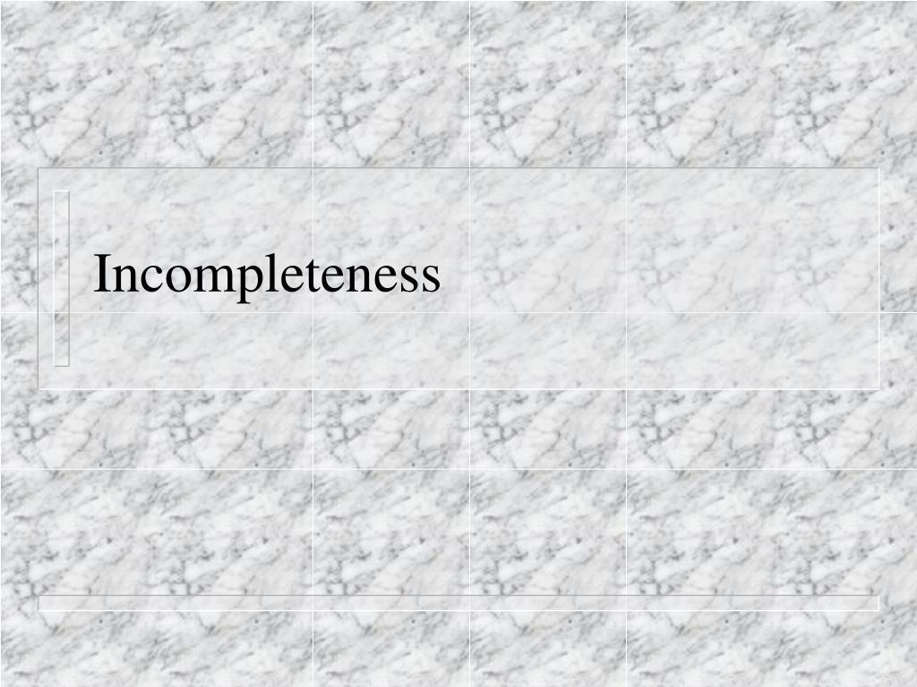 incompleteness l.