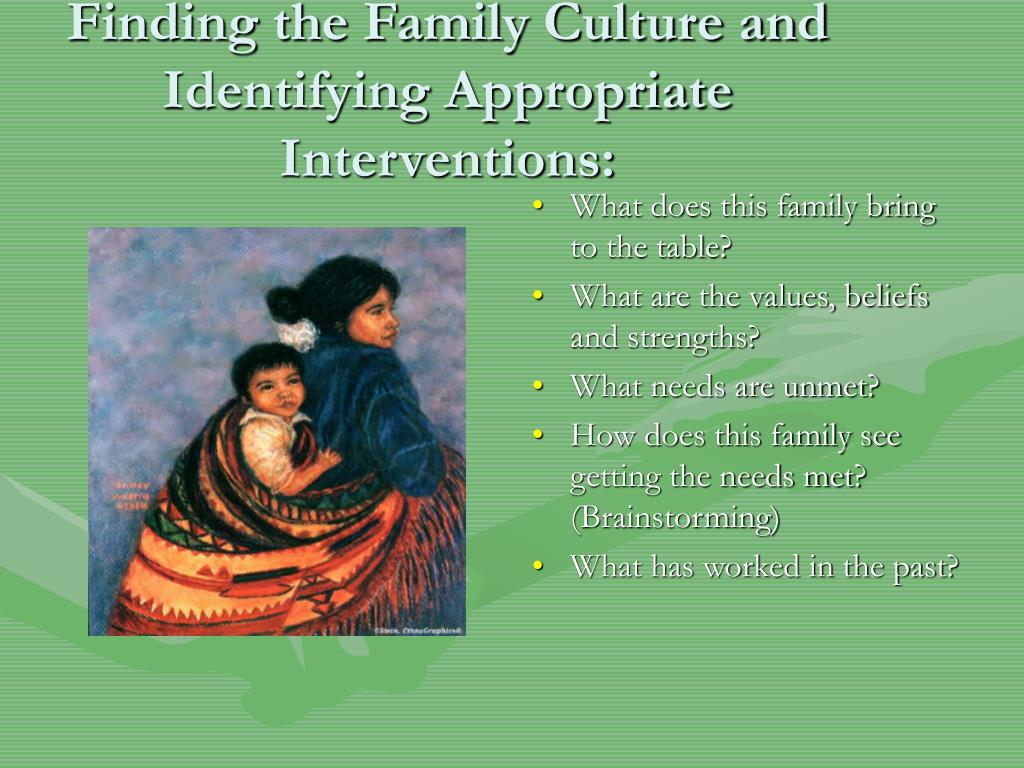 Finding the Family Culture and Identifying Appropriate Interventions: