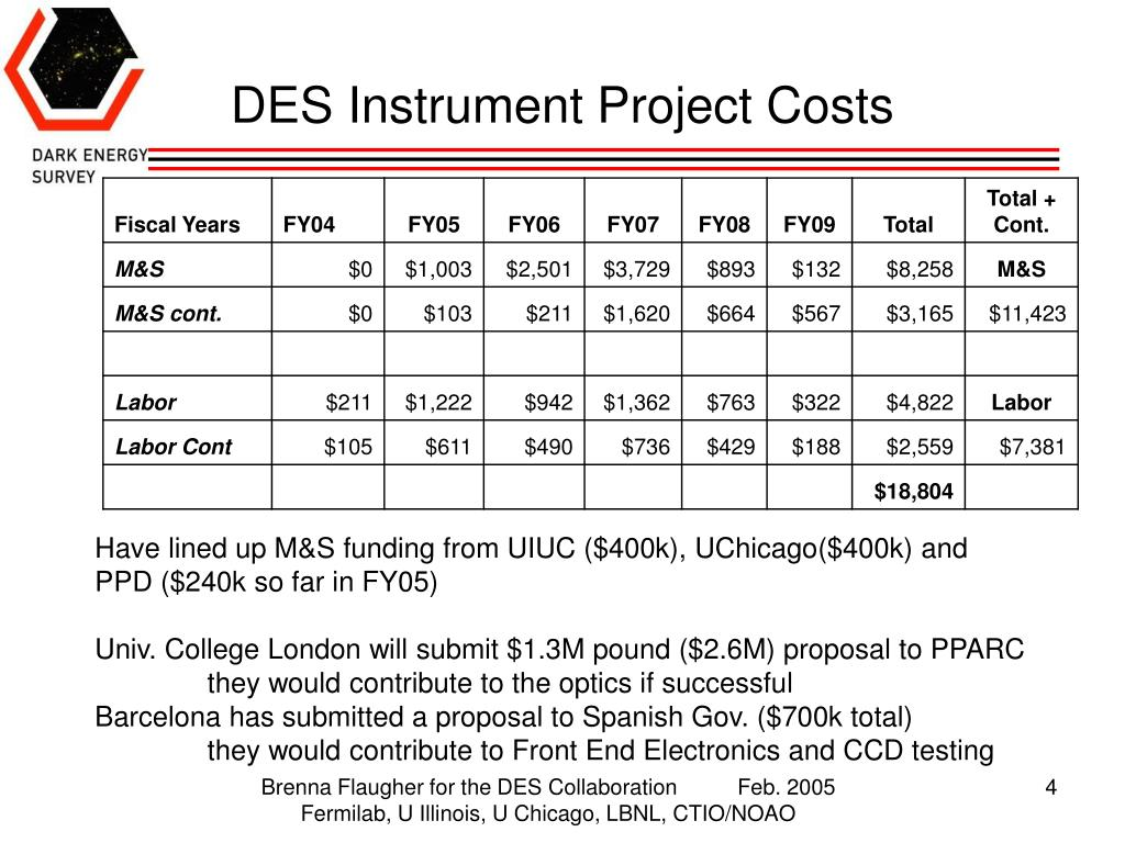 DES Instrument Project Costs
