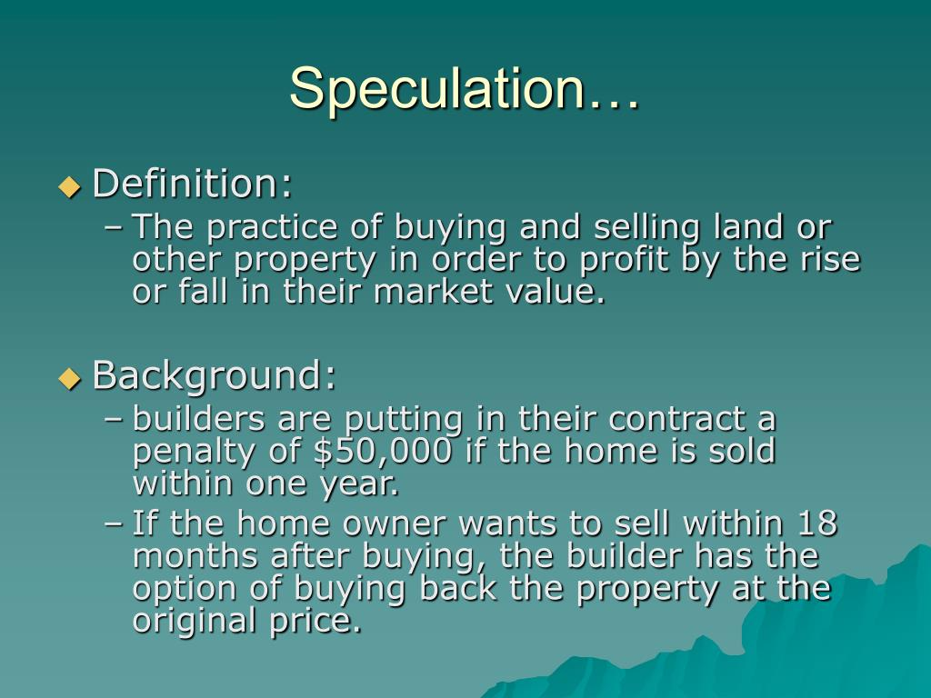 Speculation…