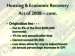 housing economic recovery act of 2008 cont