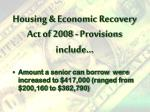 housing economic recovery act of 2008 provisions include