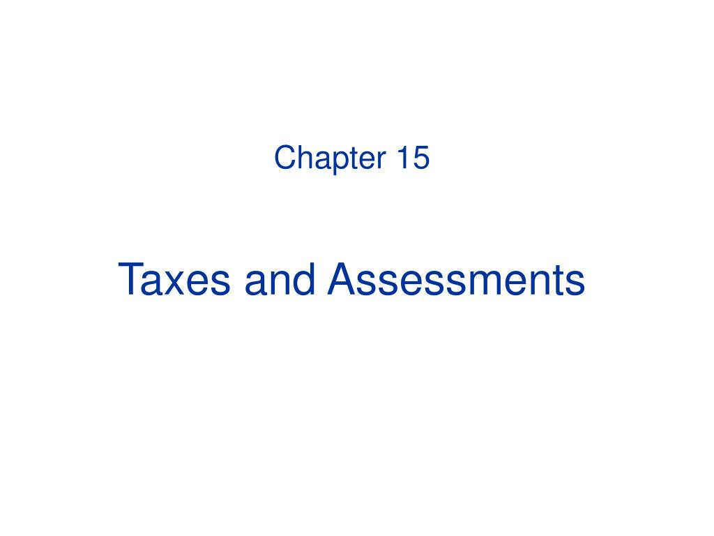 chapter 15 taxes and assessments l.