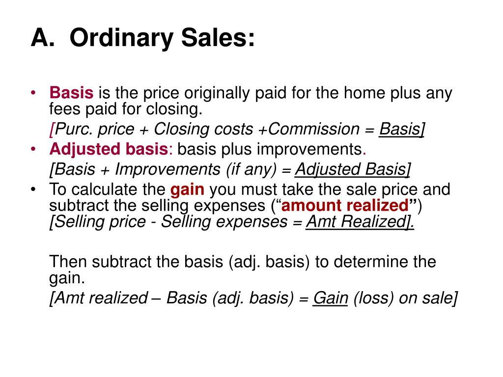 A.  Ordinary Sales: