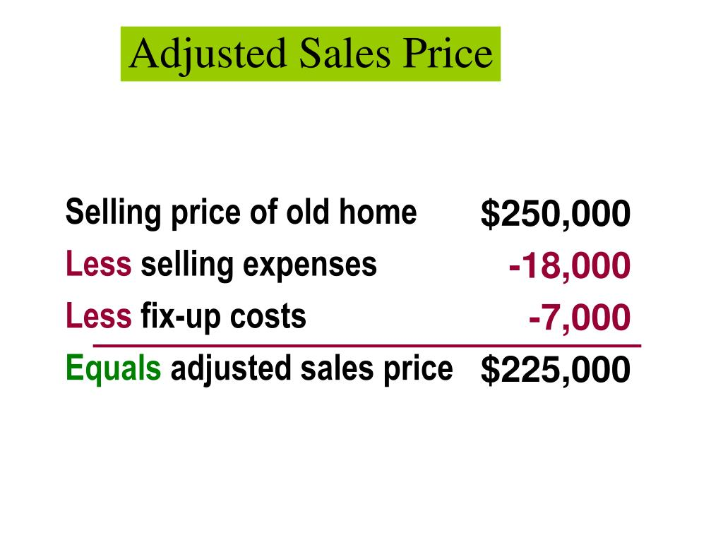 Adjusted Sales Price