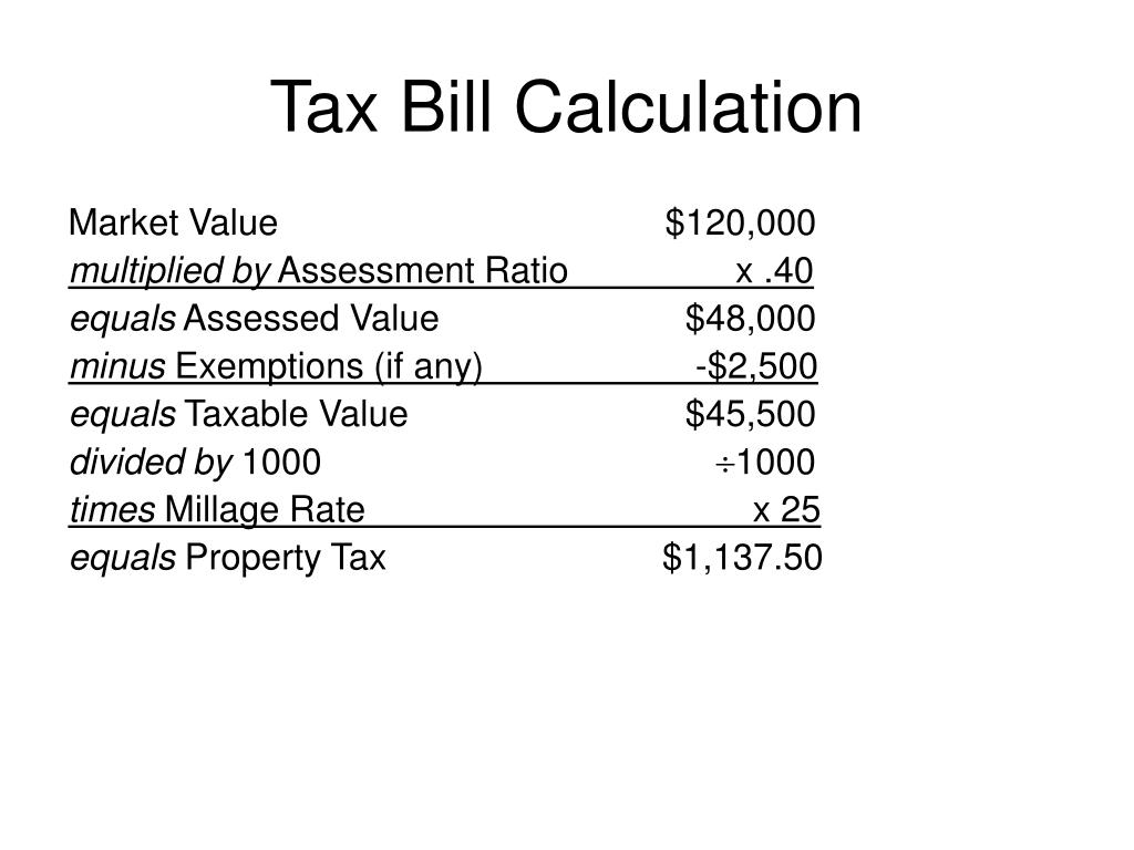 Tax Bill Calculation