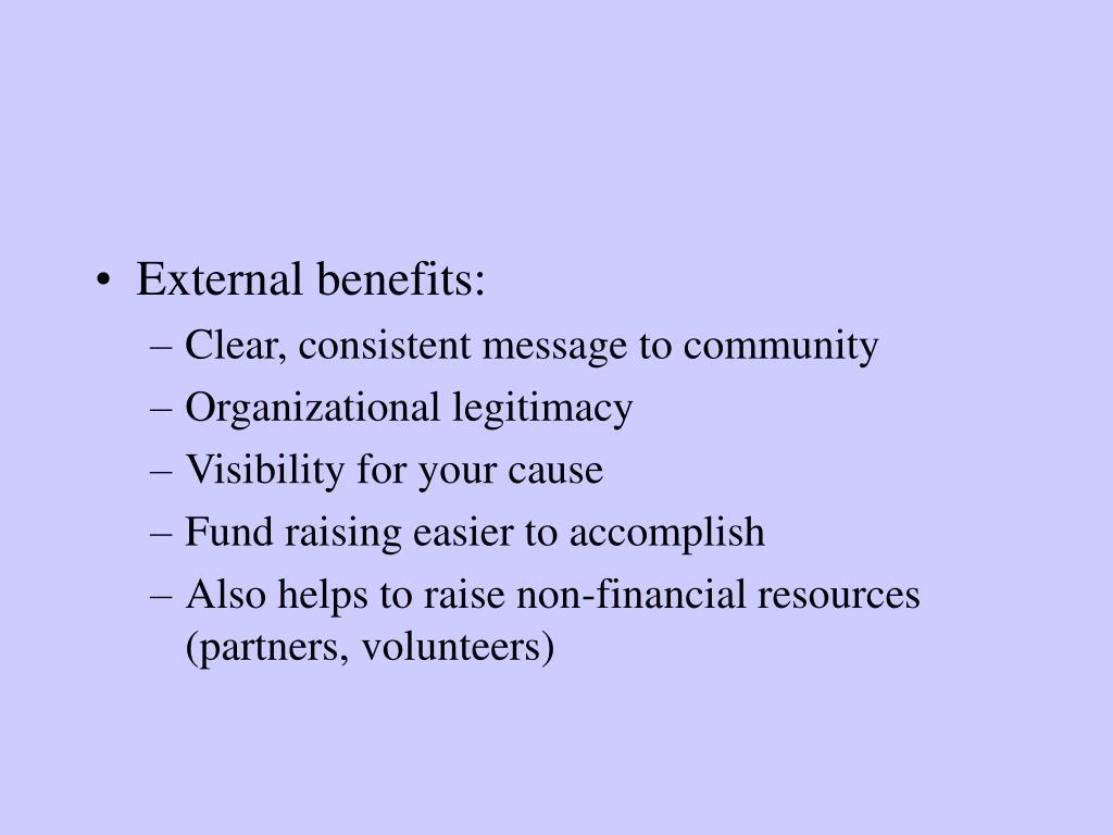 External benefits: