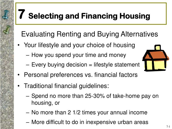 7 selecting and financing housing