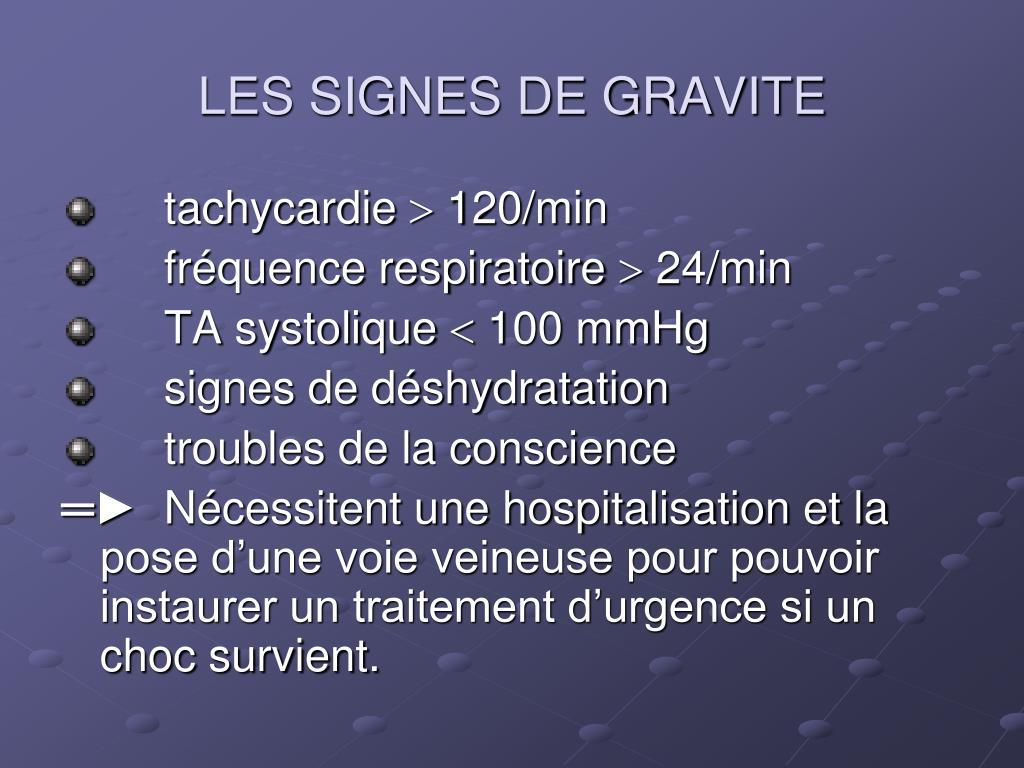 LES SIGNES DE GRAVITE