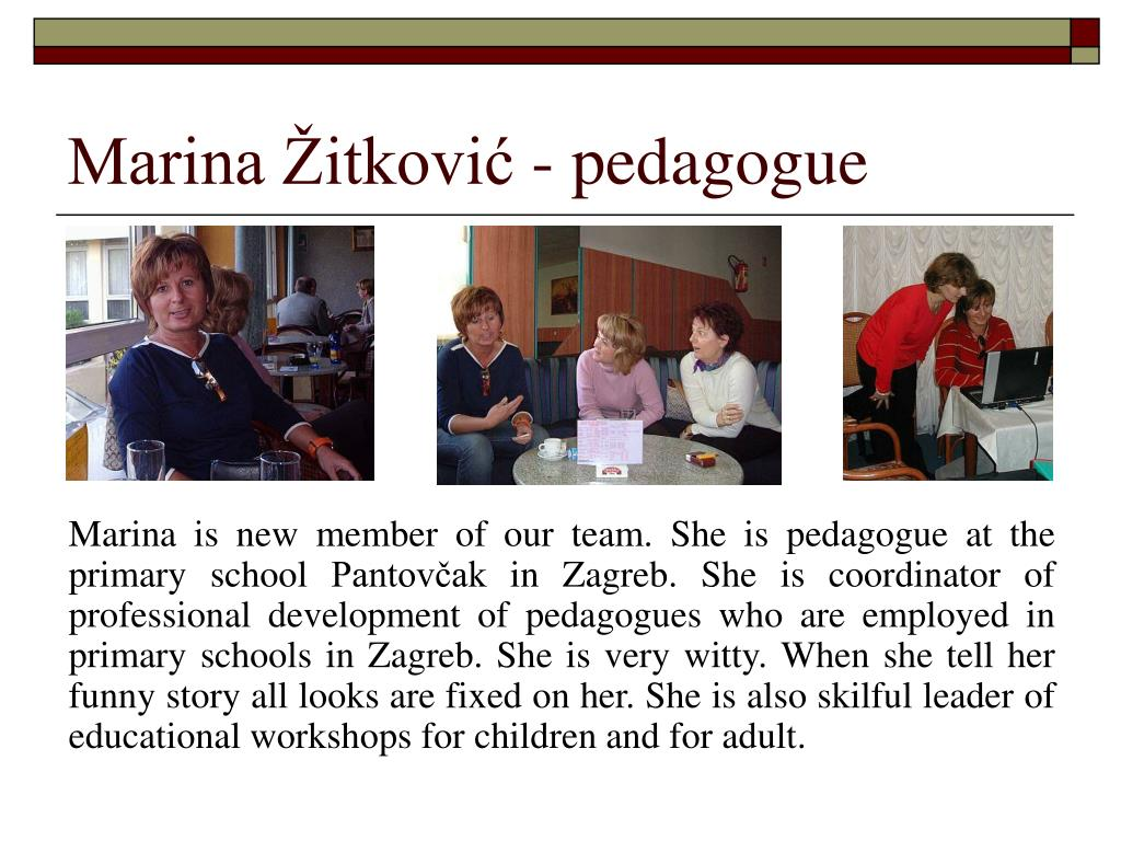 Marina Žitković - pedagogue