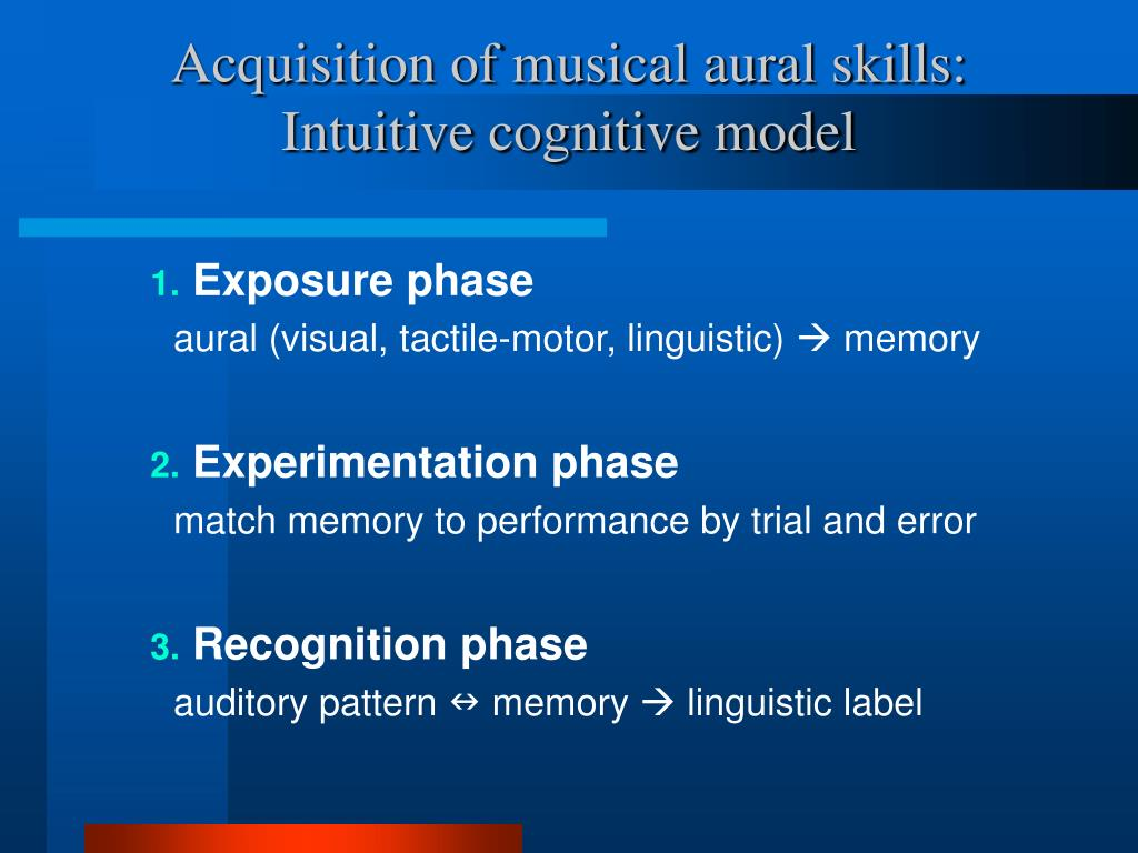 Acquisition of musical aural skills: Intuitive cognitive model