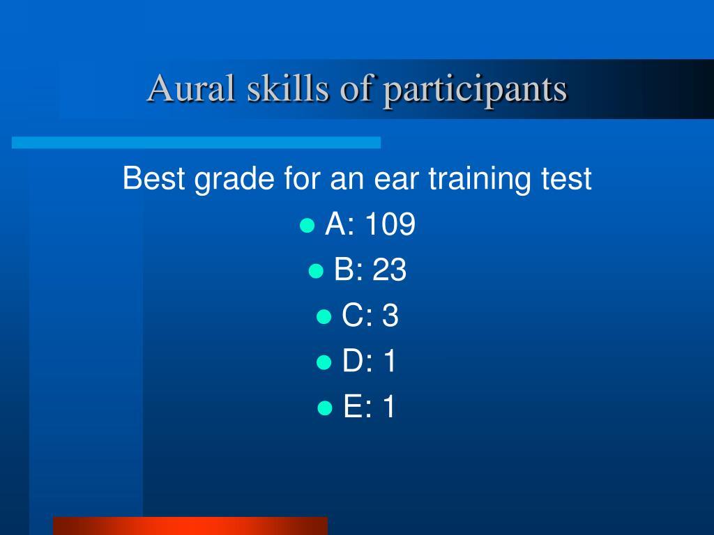 Aural skills of participants